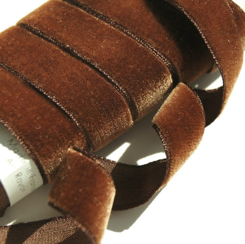 Antique Brown Velvet Ribbon Vintage from France 16mm