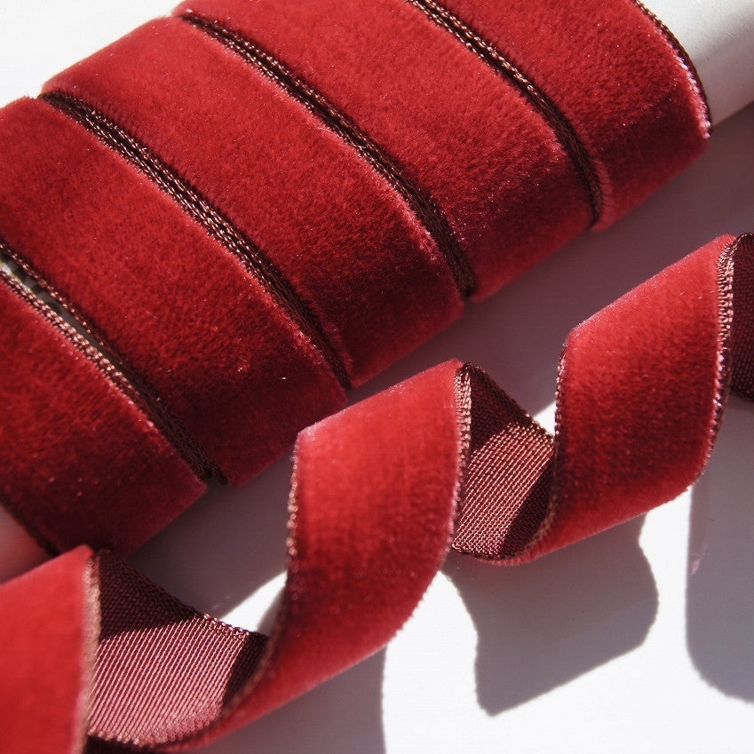 Made in France Vintage Velvet Ribbon  781-100/% Rayon Fall Leaves Burnt Orange and high lights  of Green Ombre Hand Dyed  Beautiful