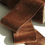 Antique Brown Velvet Ribbon Vintage from France 50mm
