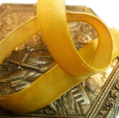 Gold Velvet Ribbon Vintage from France 16mm