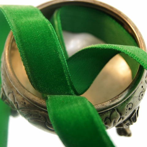 Christmas Green Velvet Ribbon Vintage from France 16mm