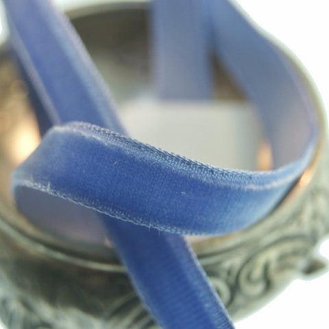 Classic Blue Velvet Ribbon Vintage from France 9mm