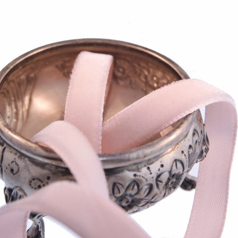 Baby Pink Velvet Ribbon Vintage from France 7mm