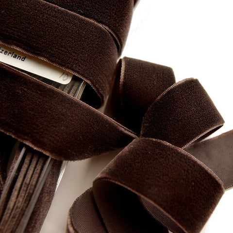 Autumn Brown Velvet Ribbon Vintage from Switzerland 23mm