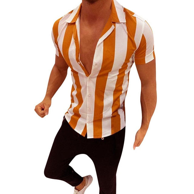 Summer Fashion Striped Shirt Mens