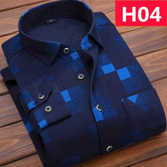 Winter Thick Velvet Dress Shirt For Men