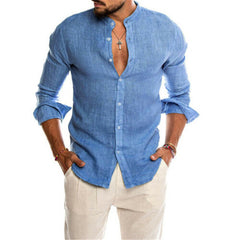 2019 Fashion Men Cotton Linen Shirts