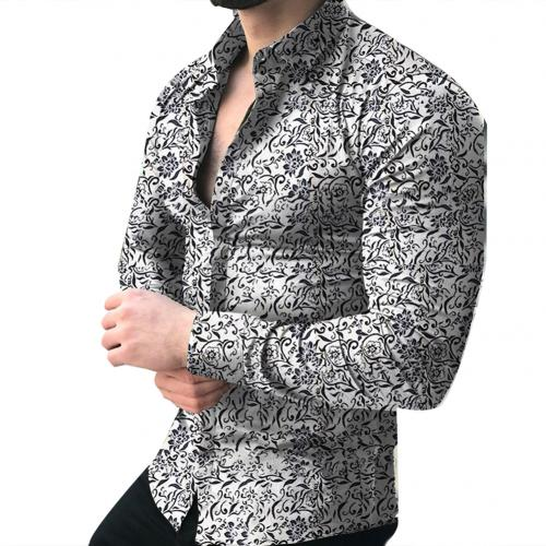 YYear Mens Casual Formal Lapel Collar Long Sleeve Floral Print Button Down Blouse Shirt Tops