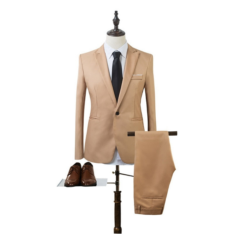 CYSINCOS 2019 New 2 Pieces Business Blazer+Pants Suit Sets Men Autumn Fashion Solid Slim Wedding Set Vintage Classic Blazer Male