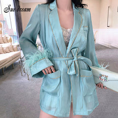 Coat Long Sleeve Feather Belt