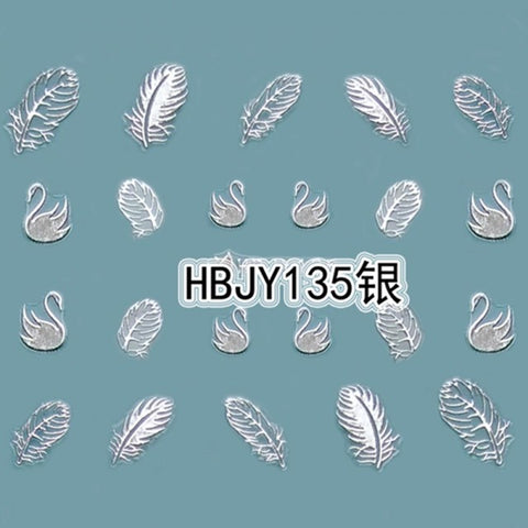 Hot Sale 2 Pcs Beautiful White Feather Swan Nail Art