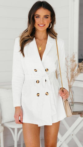 Sexy V-Neck White Trench Coats