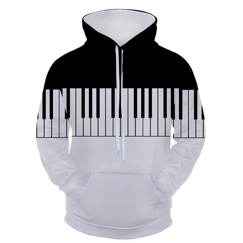 3D Black White Piano