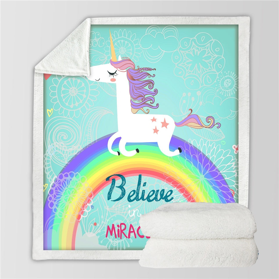 BeddingOutlet Unicorn Rainbow Blanket Believe Miracles