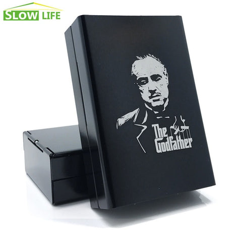 Laser Engraving The Godfather Cigarette Case - Aluminum Alloy - 20 Cigarettes Case