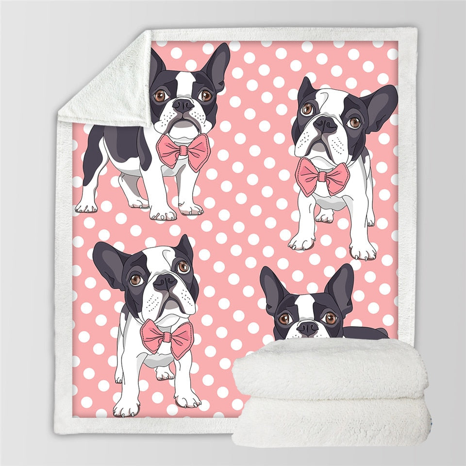 BeddingOutlet Bow Tie Bulldog Blanket