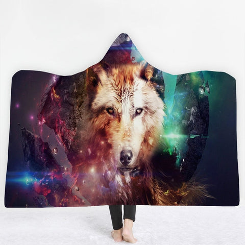 Wolf Lion leopard Hooded Blanket