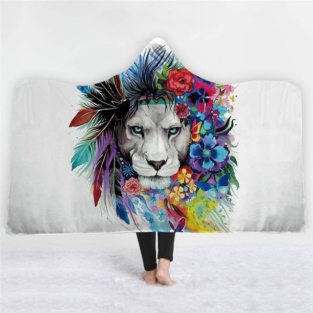 3D Lion Hooded Blanket