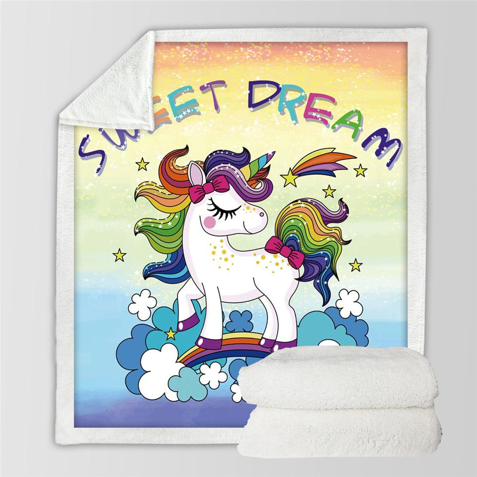 BeddingOutlet Rainbow Unicorn Microfiber Bed Blanket