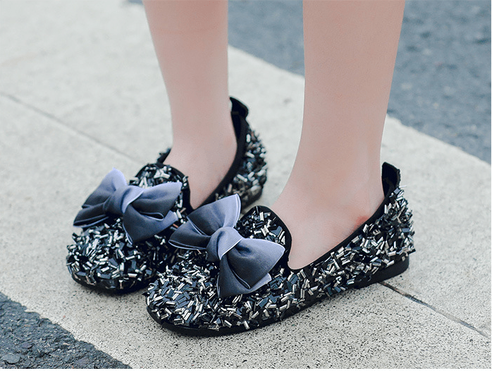 Princess Sequin & Bow Slip-On Shoes
