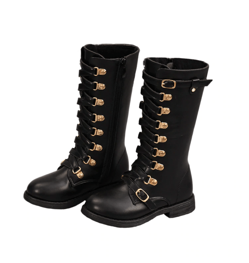 Girls Faux Leather Calf Boots