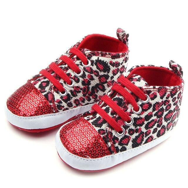 Leopard Print Sequined Sneakers