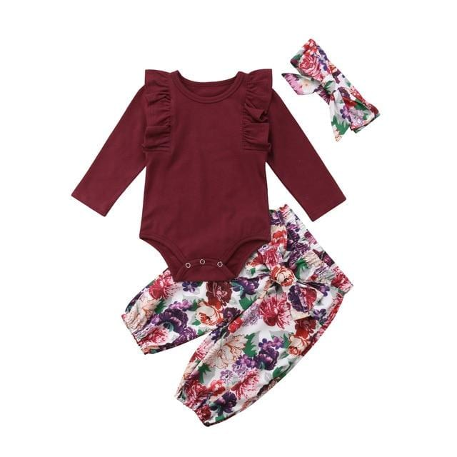 3pc | Floral Ruffle Romper Outfit w/Headband