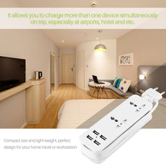 EU Plug Extension Socket Outlet Portable Travel Power Strip Surge Protector with 4 USB Smart Wall Charger Desktop Hub Cable