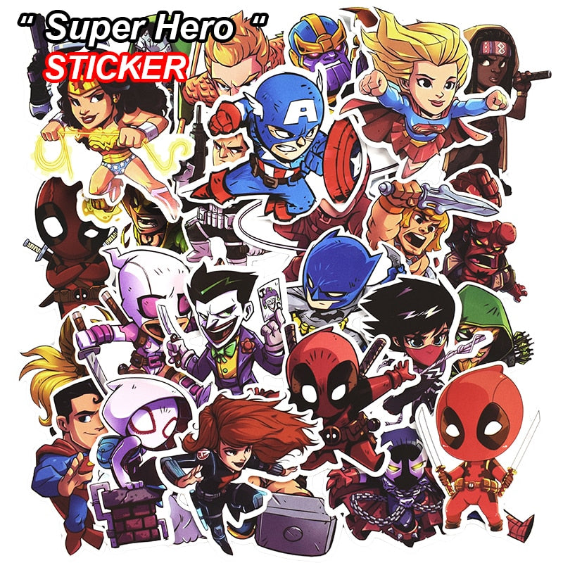 50 Pcs Super Hero Stickers for Luggage Laptop Skateboard Bicycle Motorcycle Car Styling Decals Fashion Cool Waterproof Sticker