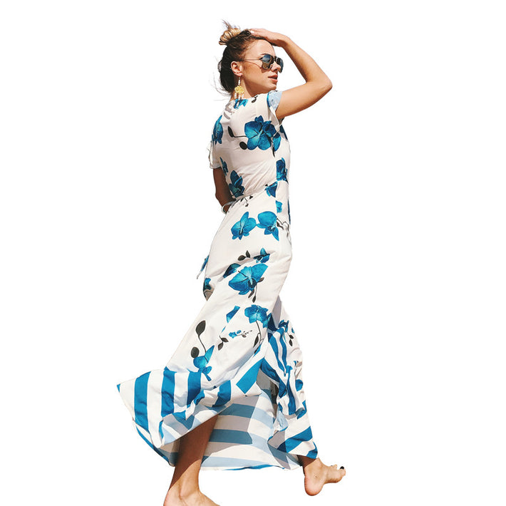 Beautiful beach holiday printed chiffon dress with short sleeves and large swing