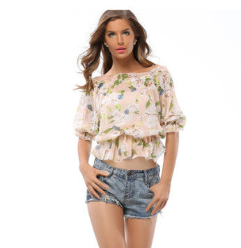 USA SIZE Leisure vacation Europe and the United States fashion print elastic waist one-neck collar strapless chiffon shirt SKU