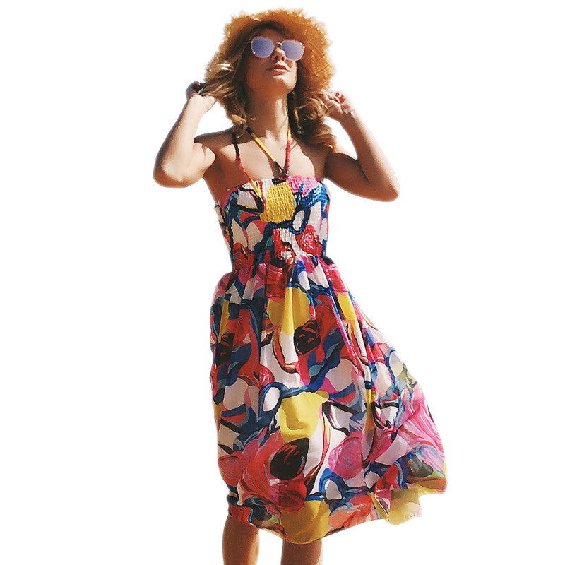 Women's Beautiful Printed Wrap Chest Sexy Halter Beach Skirt,  Bohemian Floral Chiffon Dress