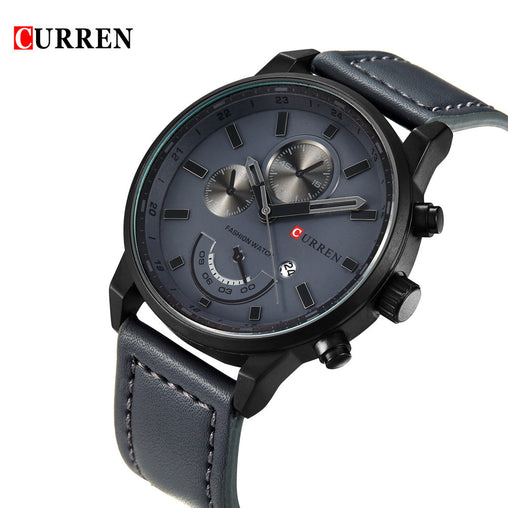 CURREN New Brand Fashion Quartz Men Watch PU Leather W/ Calendar 3ATM Water-resistant Man Casual Wristwatch