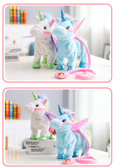 VIP 35cm Singing and Walking Unicorn Electronic plush Robot Horse Electronic unicornio plush animal toy Kid child christmas gift