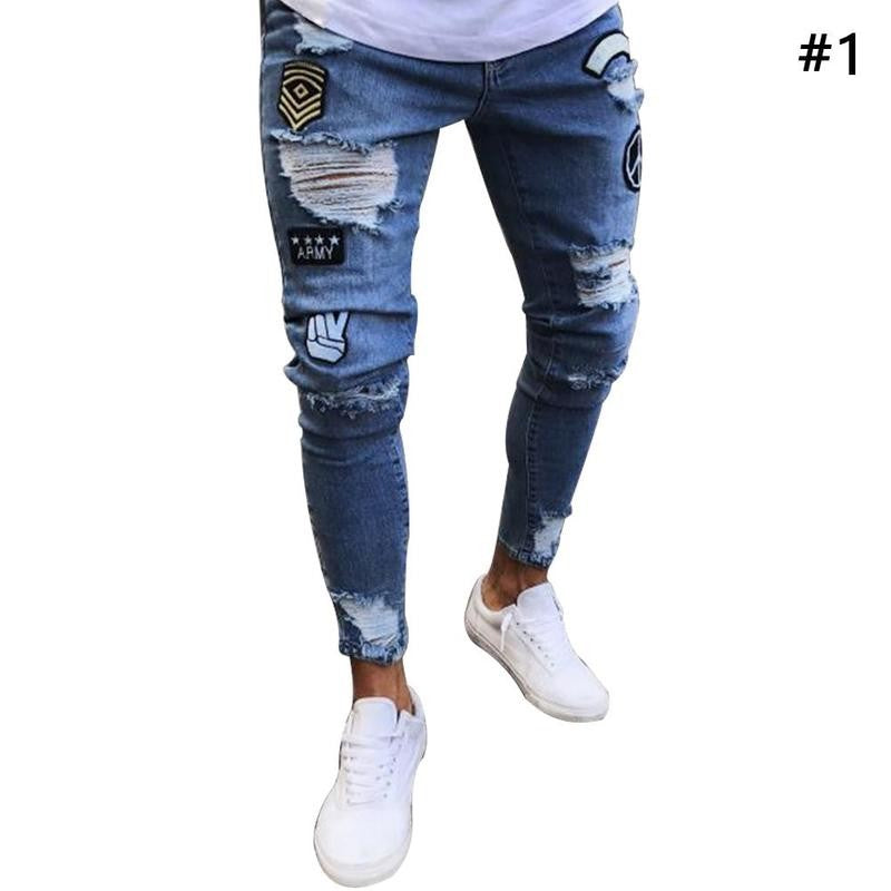 Men's 2018 New Trend Jeans Fashion Trousers Hole Trousers