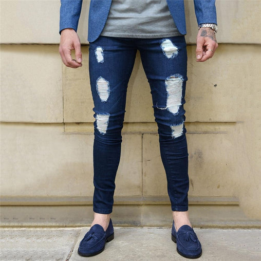 Men's Ripped Patch Moto Jeans, Slim Fit Straight Biker Denim Pants
