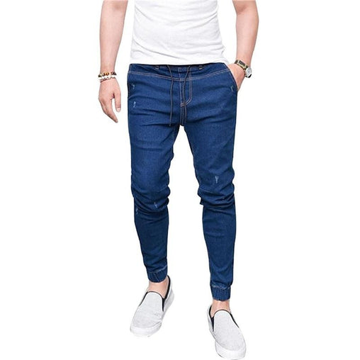 Men's New Simple Solid Color Stretch Slim  Jeans with Elastic Waist Drawstring