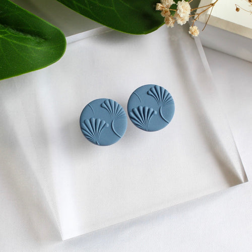 Statement Stud (Round - Blue Texture)