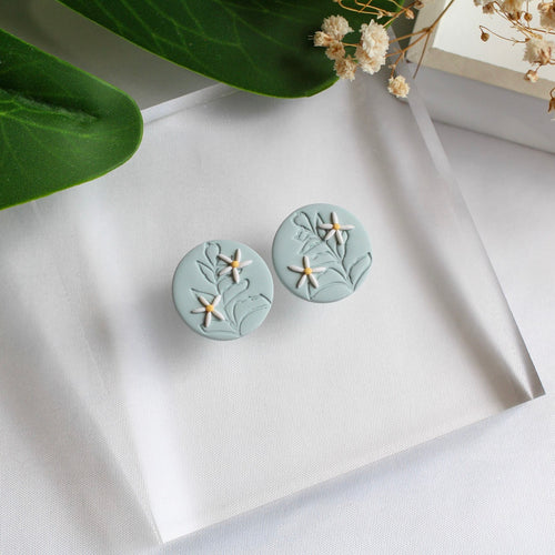 Statement Stud (Round - Leaf Print)
