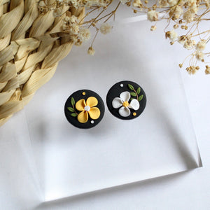Adela Florals (Statement Stud - Black)