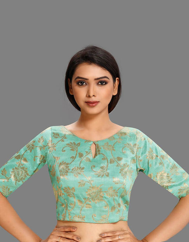 Sea-Green Brocade Blouse