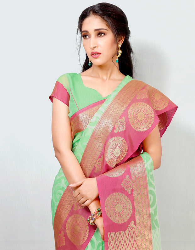 Mira Banarasi Cotton Silk Saree-15301