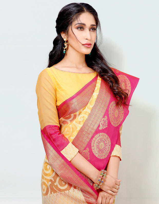 Mira Banarasi Cotton Silk Saree- 15302