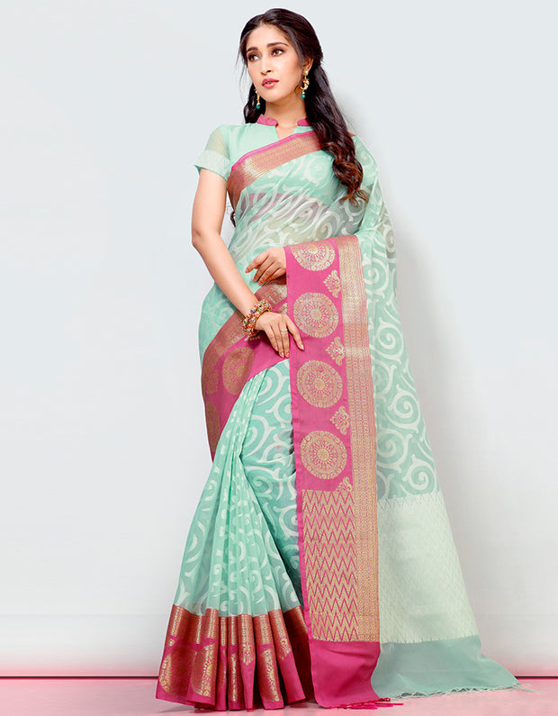 Mira Banarasi Cotton Silk Saree_15303
