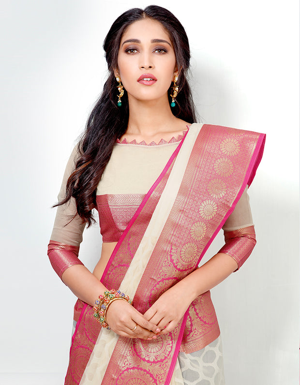 Mira Banarasi Cotton Silk Saree- 15003