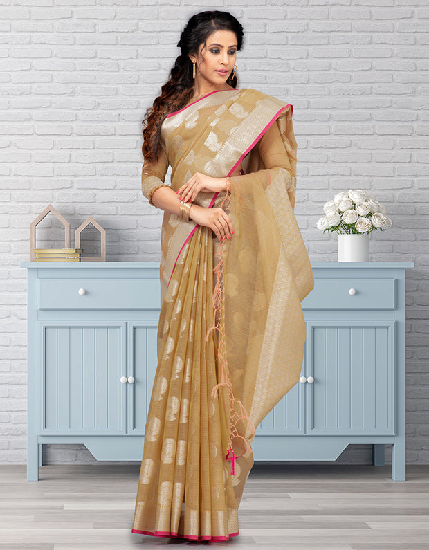 Riana Banarasi Mustard Yellow Saree