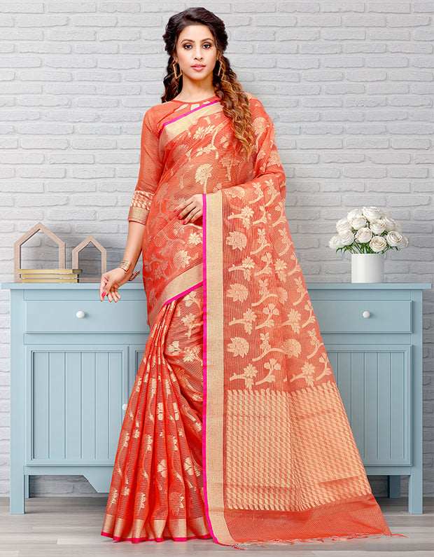 Riana Banarasi Rust Orange Saree