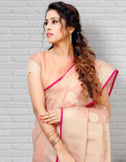 Riana Banarasi  Light Peach Saree
