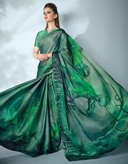 Ziva Digital Printed Emerald Green Saree