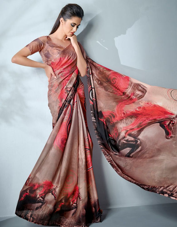 Ziva Digital Printed Creamy Brown Saree